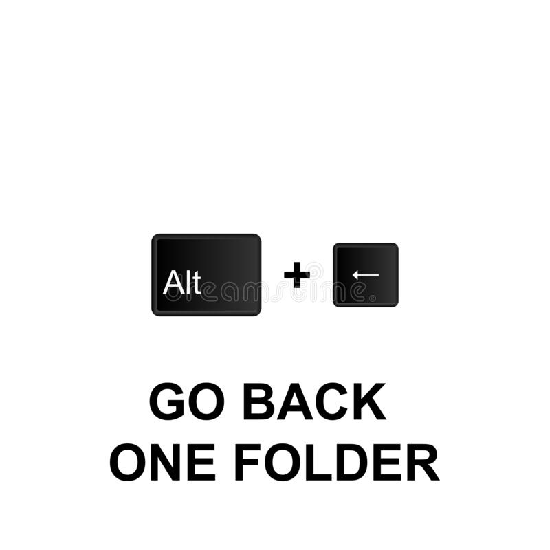 Keyboard shortcuts, go back one folder icon. Can be used for web, logo, mobile app, UI, UX. On white background stock illustration