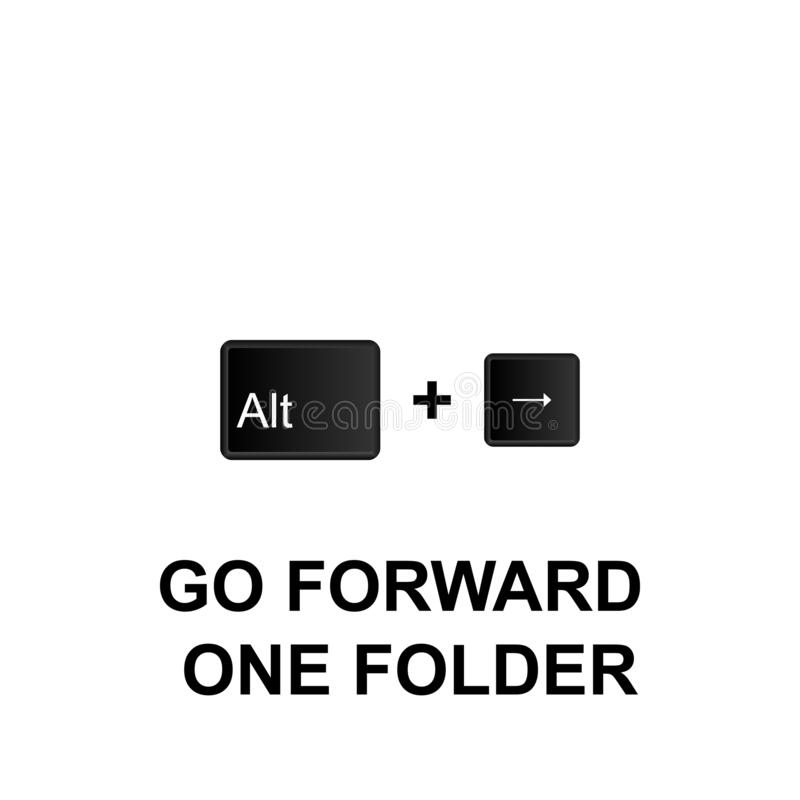 Keyboard shortcuts, go forward one folder icon. Can be used for web, logo, mobile app, UI, UX. On white background royalty free illustration