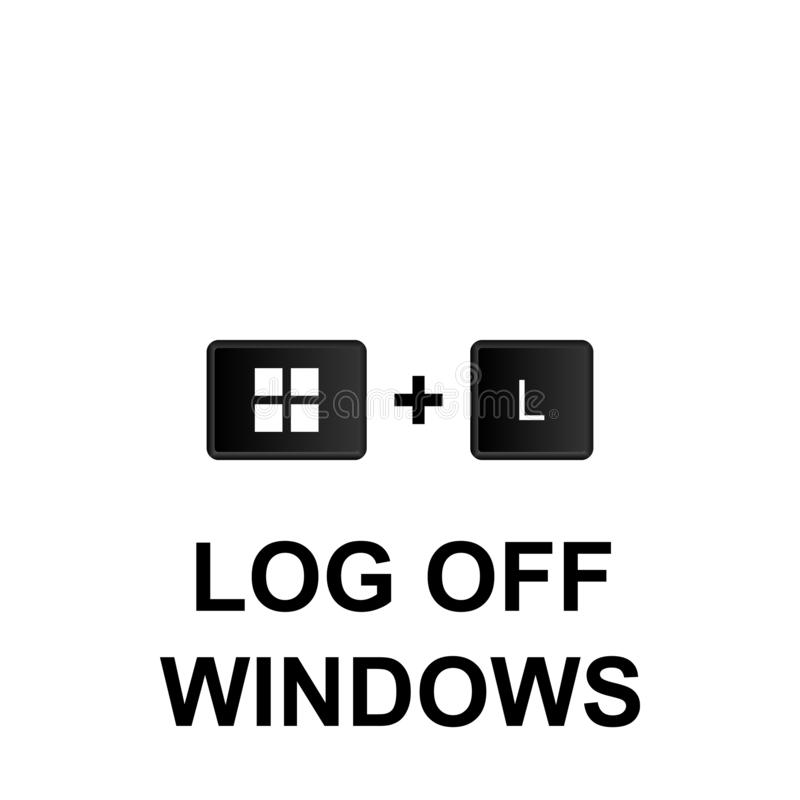 Keyboard shortcuts, log off windows icon. Can be used for web, logo, mobile app, UI, UX. On white background stock illustration