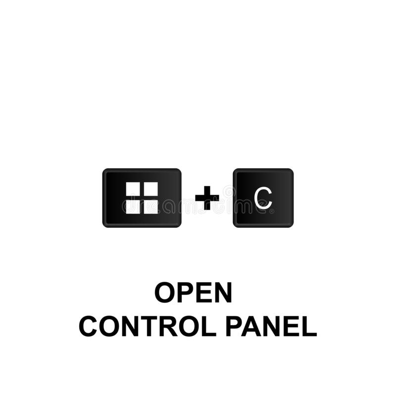 Keyboard shortcuts, open control panel icon. Can be used for web, logo, mobile app, UI, UX. On white background stock illustration