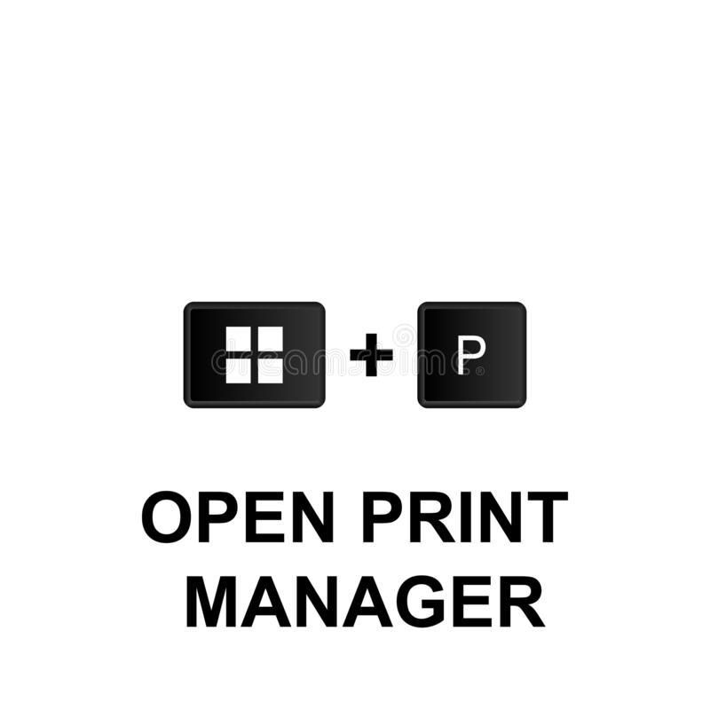 Keyboard shortcuts, open print manager icon. Can be used for web, logo, mobile app, UI, UX. On white background vector illustration