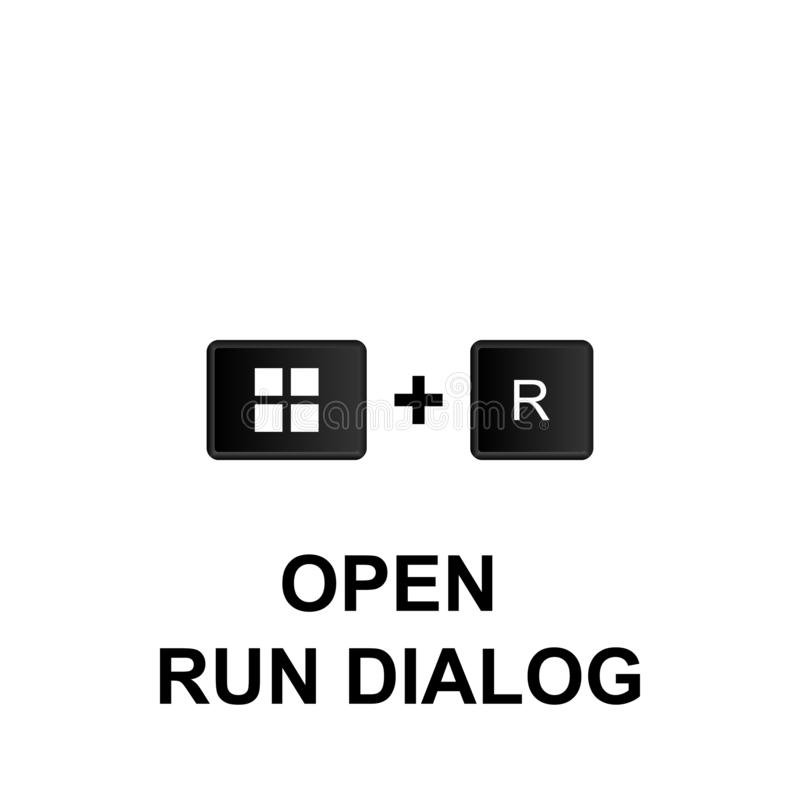 Keyboard shortcuts, open run dialog icon. Can be used for web, logo, mobile app, UI, UX. On white background royalty free illustration