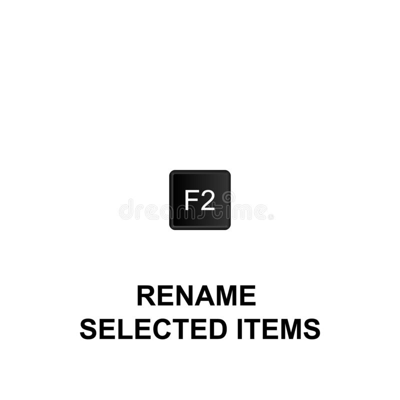 Keyboard shortcuts, rename selected items icon. Can be used for web, logo, mobile app, UI, UX. On white background vector illustration