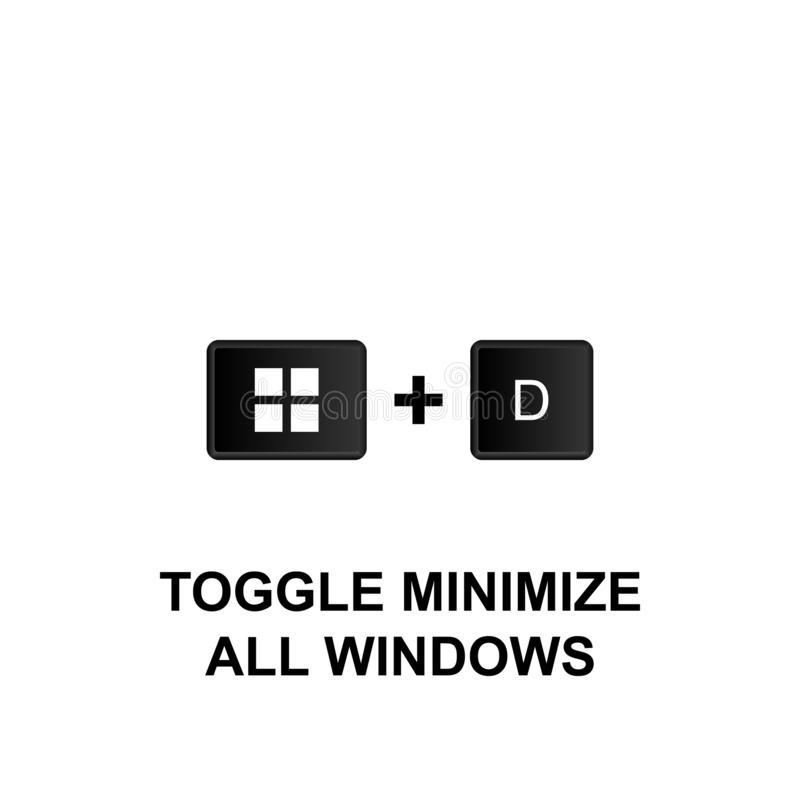 Keyboard shortcuts, toggle minimize all windows icon. Can be used for web, logo, mobile app, UI, UX. On white background stock illustration