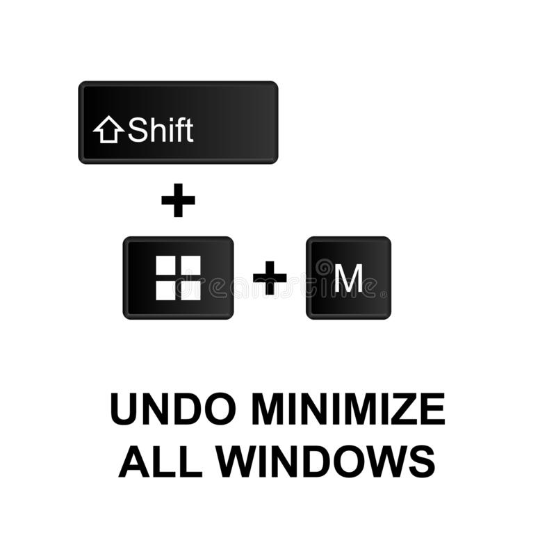 Keyboard shortcuts, undo minimize all windows icon. Can be used for web, logo, mobile app, UI, UX. On white background vector illustration