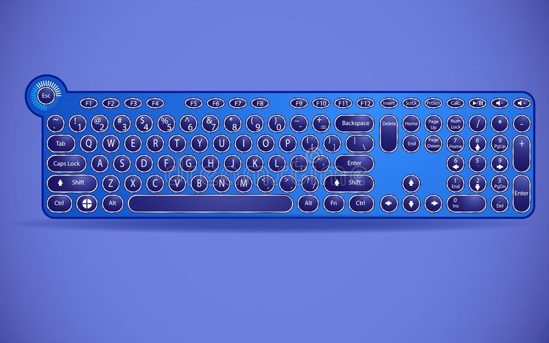 Keyboard with typewriter buttons in a modern interpretation. stock illustration