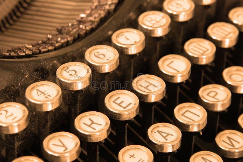 Keyboard of vintage typewriter stock photos
