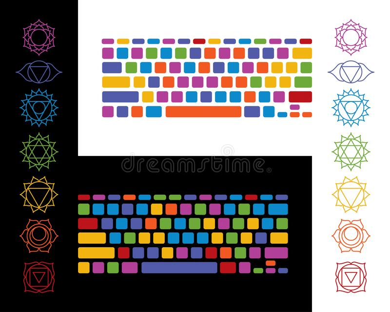 Keyboard yoga chakra vector illustration colorful set on white and black vector illustration