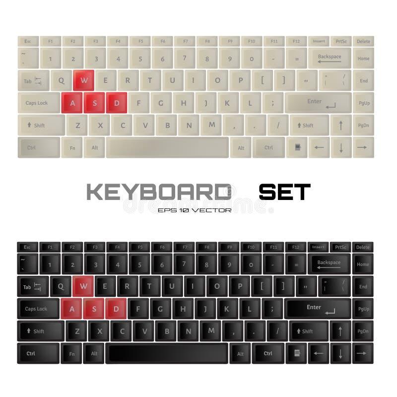 Keyboards SET. Black and white wasd gamer keyboard design. stock illustration
