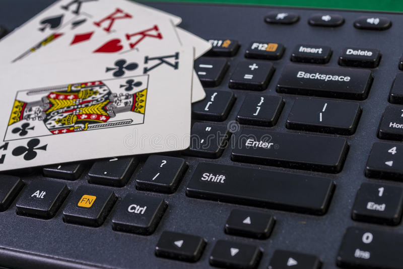 Keyboord和四位国王(在网上赌博) 库存图片