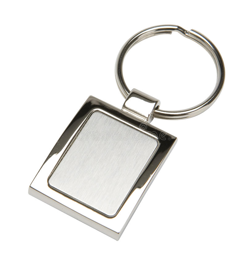 Keychain. An isolated stainless steel key chain with blank area royalty free stock images