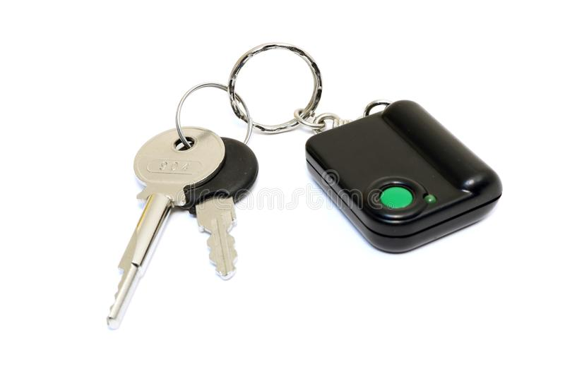 Keychain with button for calling security. Button for fast mobile help. Button for calling bodyguard royalty free stock images