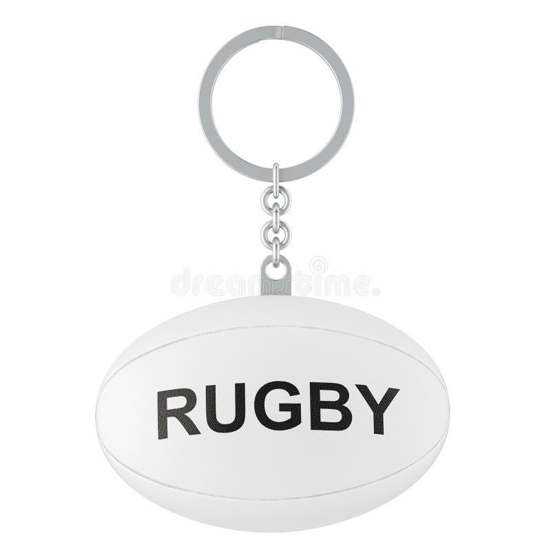 Keychain con la palla di rugby, rappresentazione 3D illustrazione vettoriale