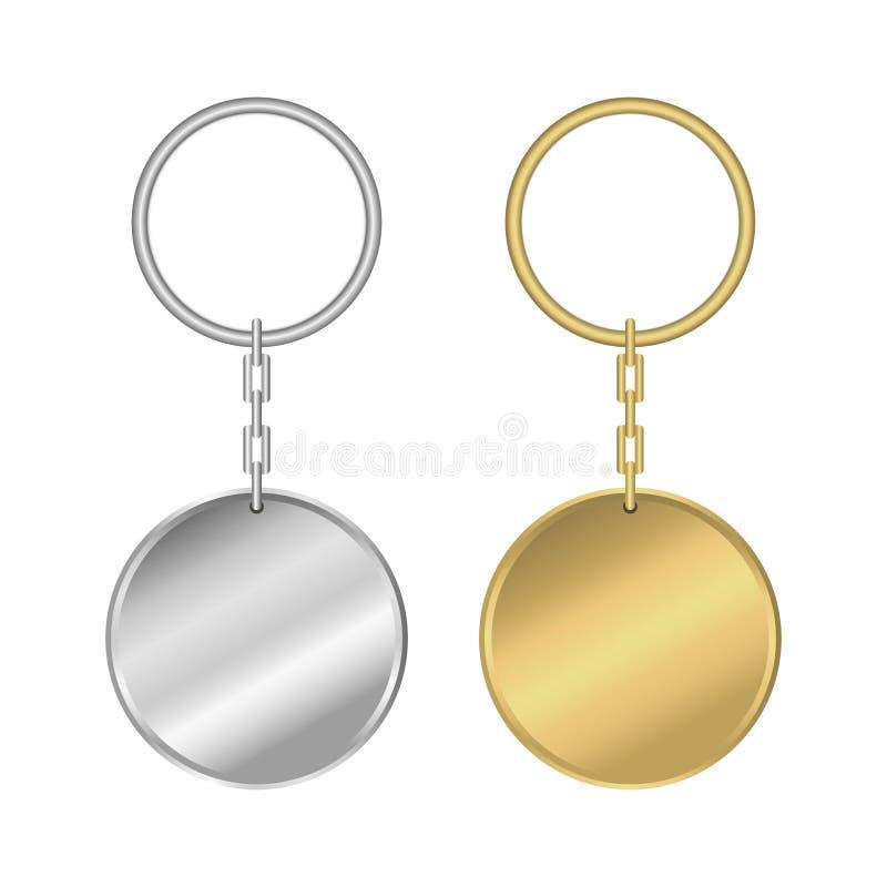 Keychain do metal Grupo de keyring dourado e de prata realístico da forma redonda Vetor ilustração royalty free