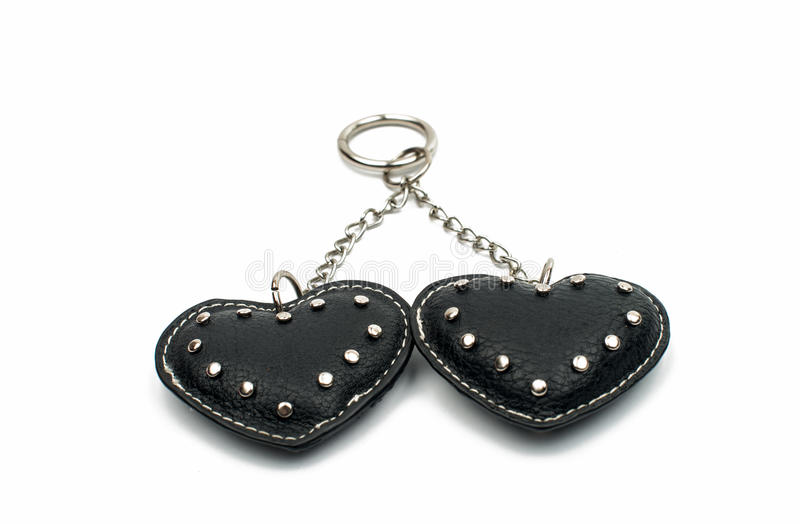 Keychain hearts. On a white background royalty free stock photo