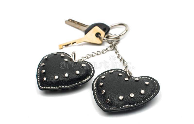Keychain hearts. On a white background stock photography
