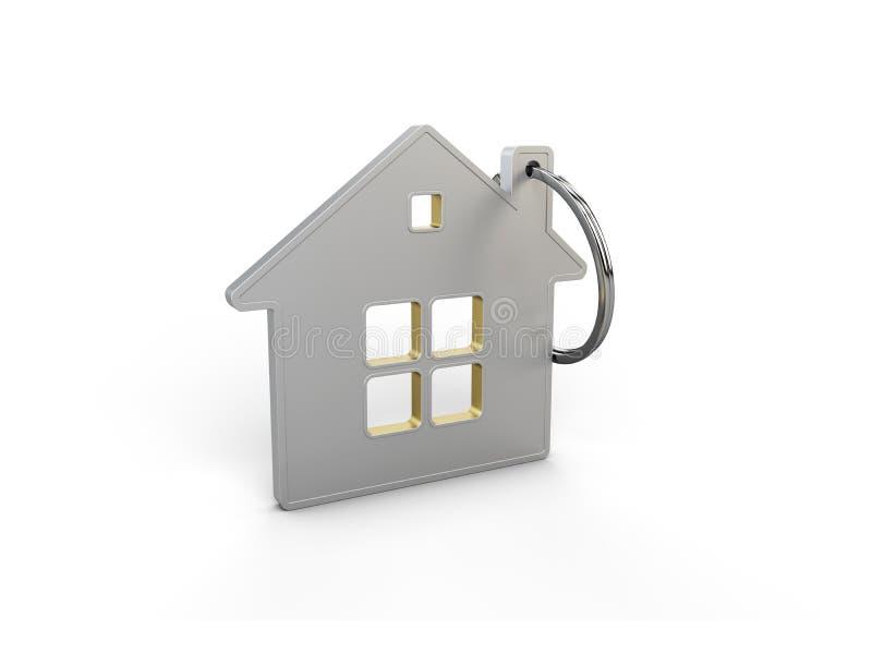 Keychain i form av ett hus, illustration 3d vektor illustrationer