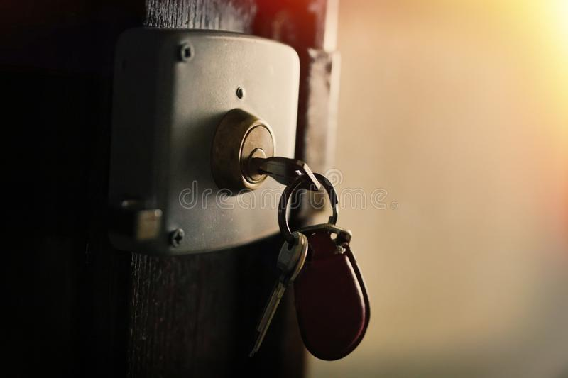 Keychain with keys in the house royalty free stock photo