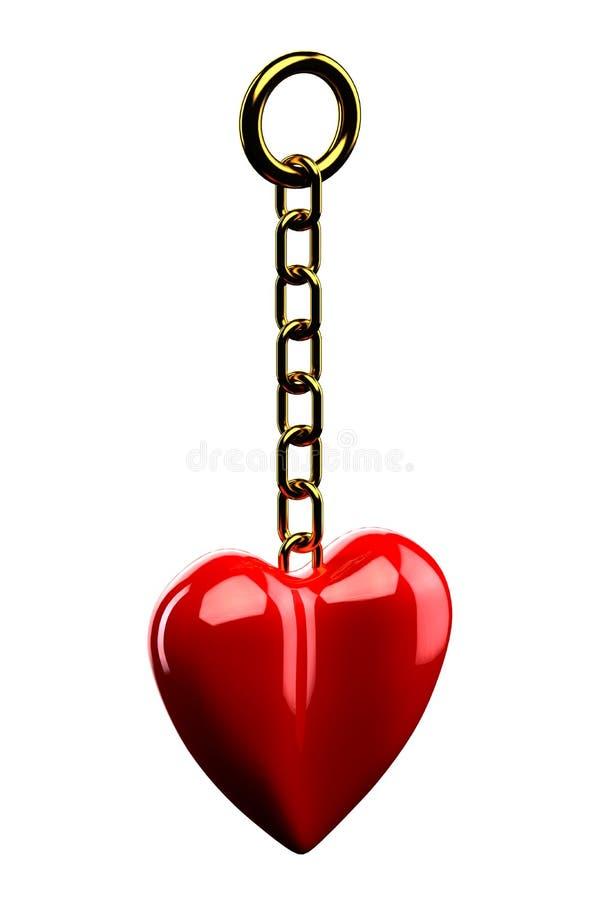 Keychain met een hart op witte achtergrond wordt geïsoleerd die royalty-vrije illustratie