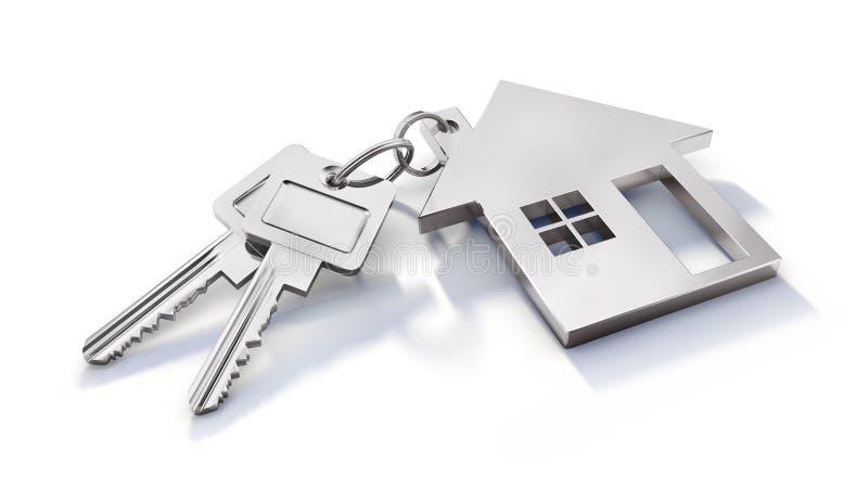 Keychain met sleutels isoloated op een witte Achtergrond vector illustratie