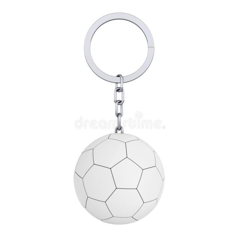 Keychain pierścionek z Rzemienną Białą Futbolową piłki nożnej piłką w glina stylu świadczenia 3 d ilustracja wektor