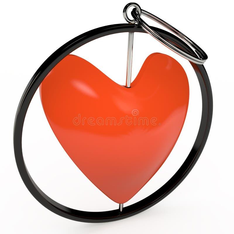 Keychain in rood 3D hart, vector illustratie