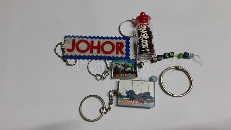 Keychains souvenir. Of malaysia close up stock photo