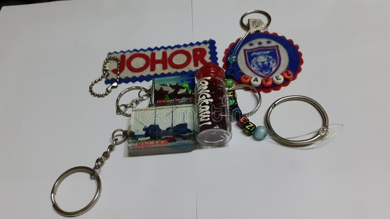 Keychains souvenir. Of malaysia close up royalty free stock image