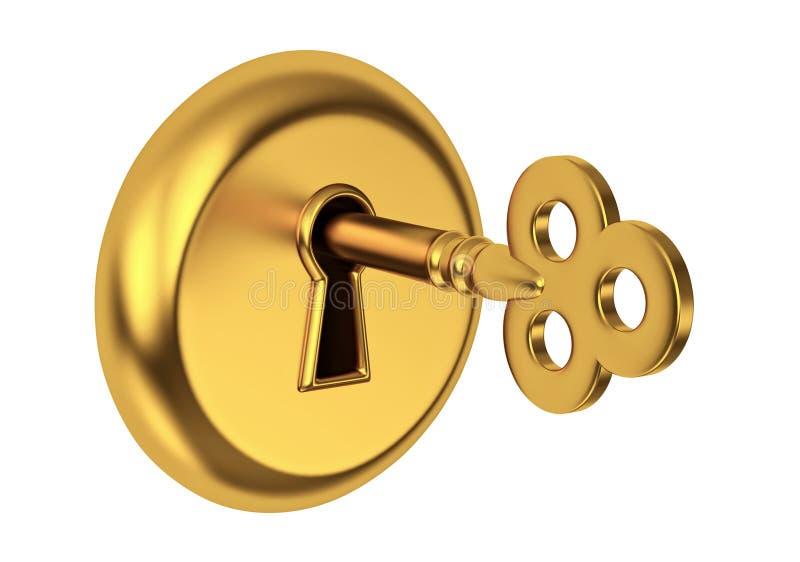 keyhole золотистого ключа иллюстрация штока