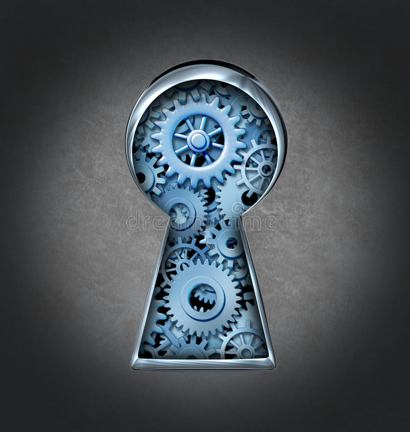 Keyhole For Business Success. With an open door key lock and gears and cogs inside the opening as a symbol of security and opportunity on a grunge metal royalty free illustration