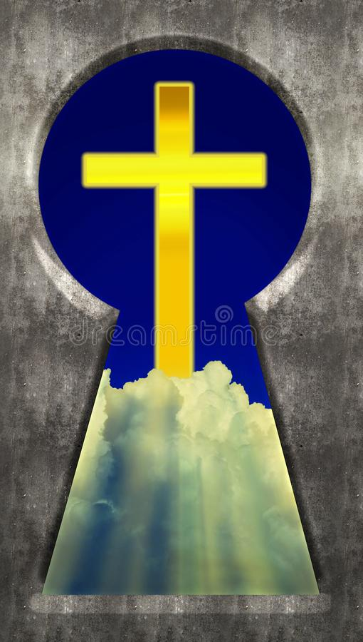 Through the Keyhole - Christian Cross in Clouds stock photos