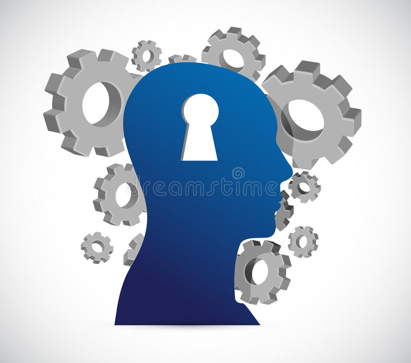Keyhole head and gears, illustration royalty free illustration