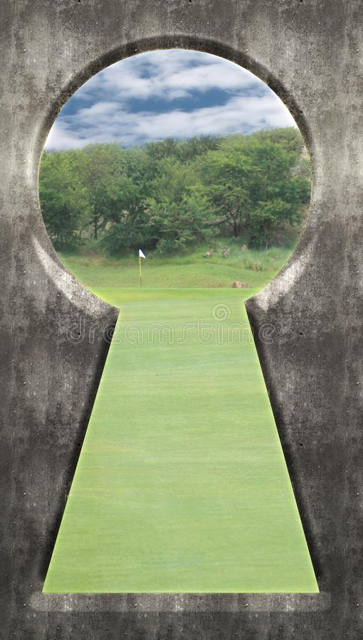 Through the Keyhole - Golf Course Green with Flag royalty free stock photography