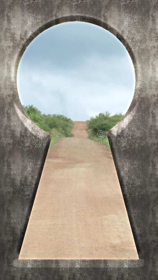 Through the Keyhole - Open Rural Dirt Road in Nature royalty free stock photos