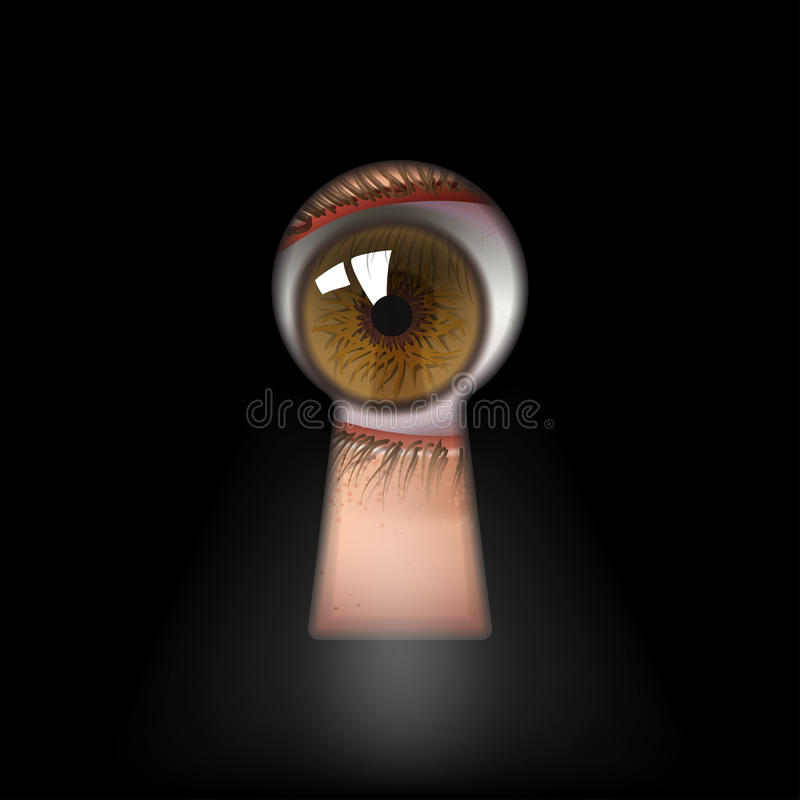 Keyhole. Open human eye in keyhole
