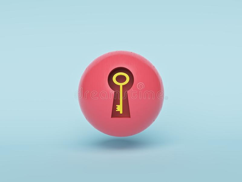 Keyhole in a red ball and a yellow key inside it. minimal style. 3d rendering. Keyhole in a red ball and a yellow key inside it. isolated on pastel blue stock illustration