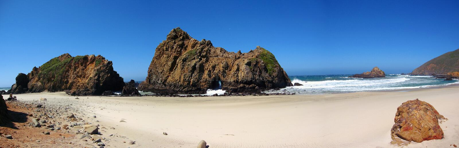 Landscape Panorama of Pacific Coast with Keyhole Rock at Pfeiffer Beach State Park, Big Sur, California, United States. Keyhole Rock is a stunning natural rock royalty free stock image