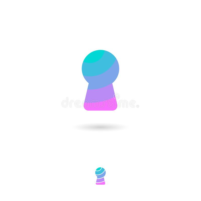 Keyhole, UI ikona tła ikony ciągnikowej sieci kołowy biel Sekret, ochrona, hasło ikona Keyhole z cieniem ilustracja wektor