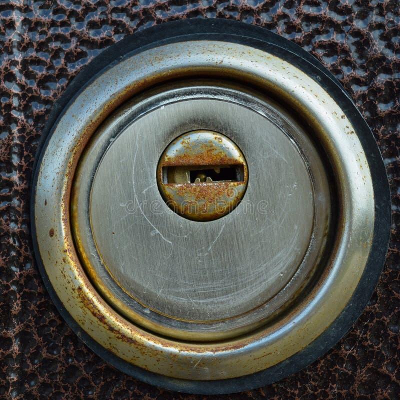 Keyhole w żelaznym drzwi zdjęcie stock