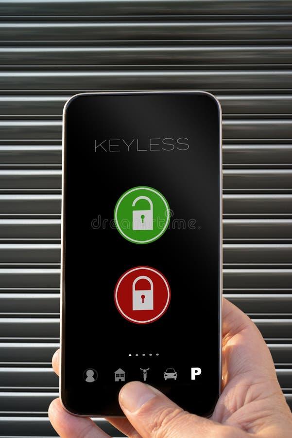 Keyless app smarphone open and close door stock images