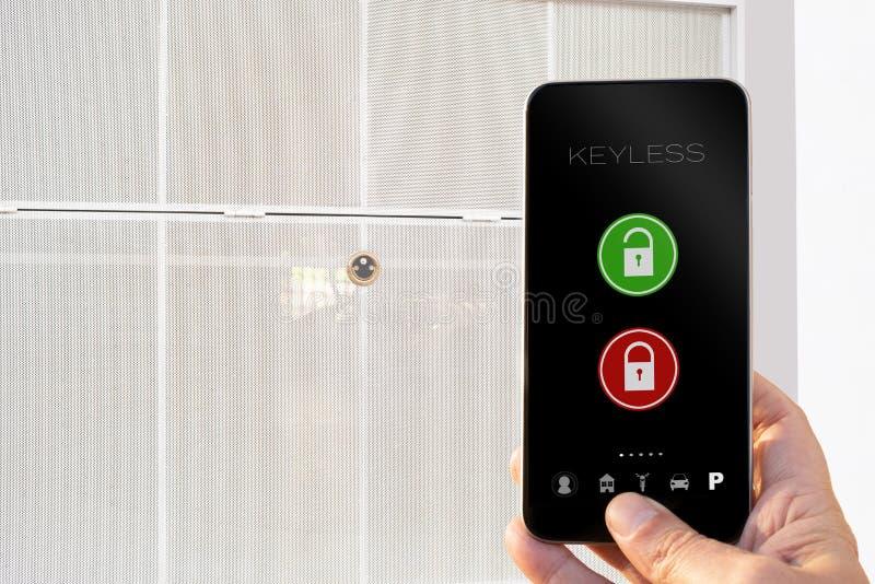 Keyless app smarphone open and close parking stock photo