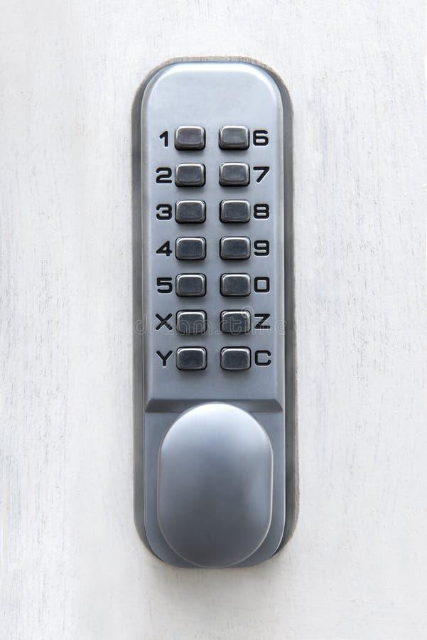 Keyless Digital Machinery Lock. Front Door in London, UK royalty free stock photos