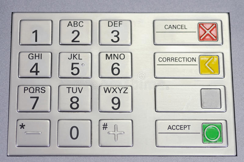 Keypad atm macro. Metallic keypad of an automated teller machine, closeup royalty free stock photography