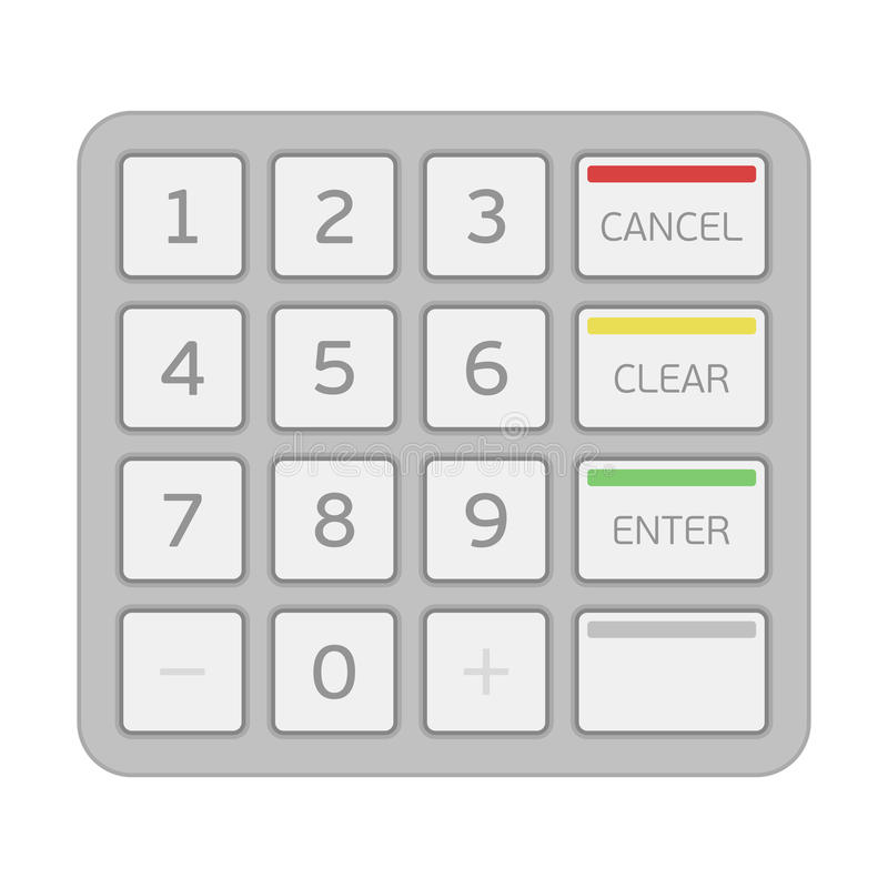 Keypad of an automated teller machine. vector illustration