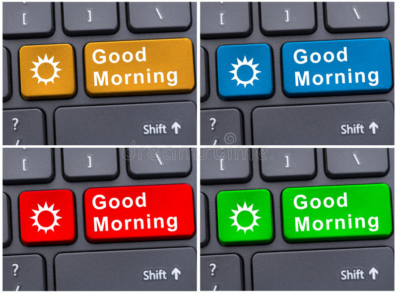 Keypad with good morning message royalty free stock photos