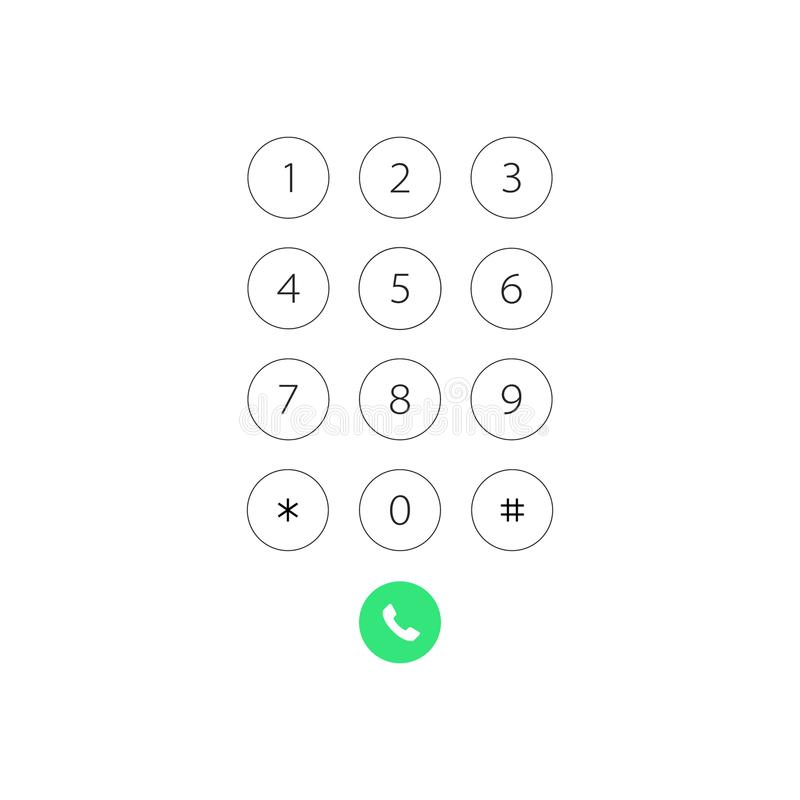 Keypad with numbers for phone. User interface keypad for smartphone. Vector illustration template. Keypad with numbers for phone. User interface keypad for stock illustration