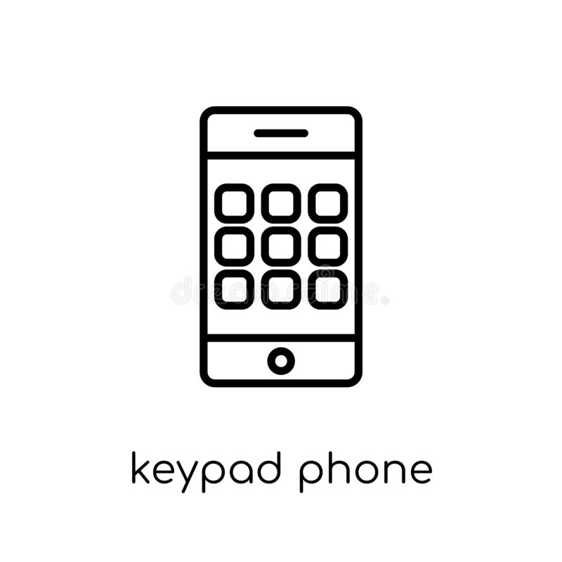 Keypad Phone icon. Trendy modern flat linear vector Keypad Phone. Icon on white background from thin line hardware collection, editable outline stroke vector vector illustration