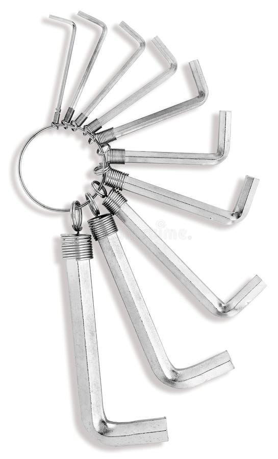 Keyring of hex allen keys stock photography