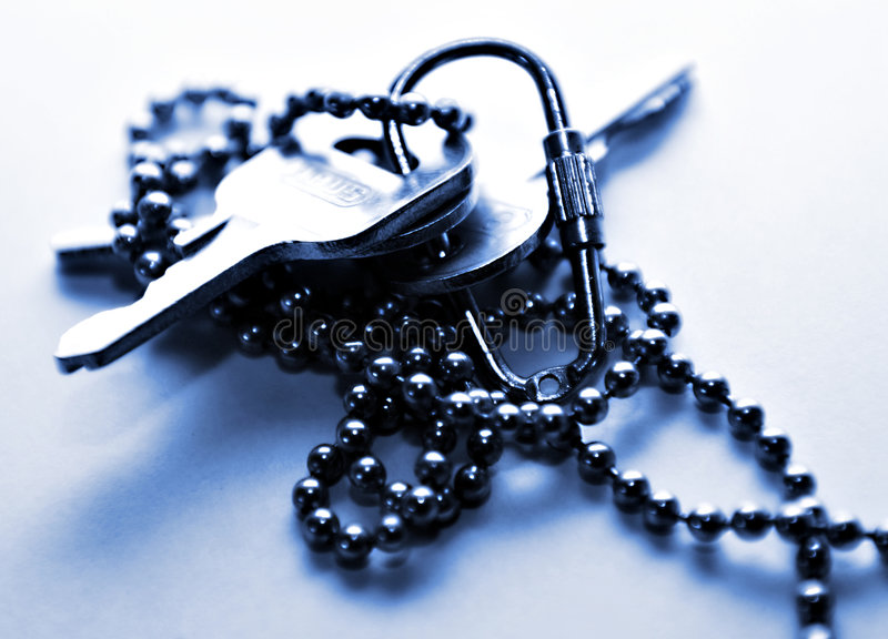 Keys. On a chain stock images
