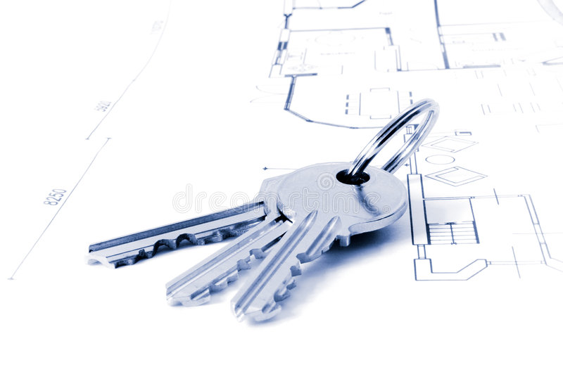Keys on an architecture-plan stock images
